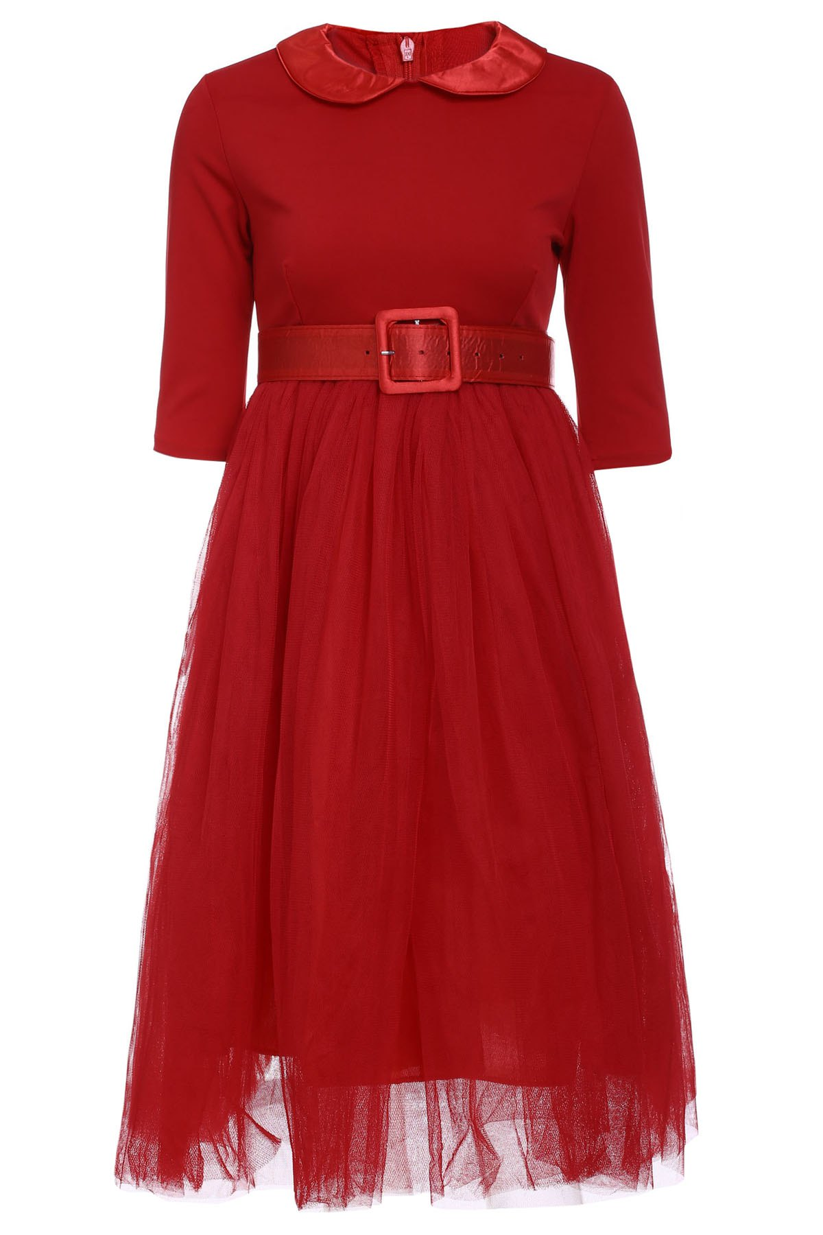 Graceful Long Sleeve Peter Pan Collar A-Line Voile Spliced Red Women' Dress