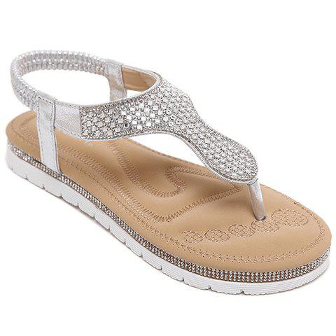 Concise Elastic and Rhinestones Design Women's Sandals - SILVER 38