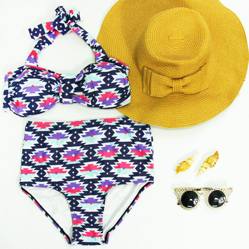 Vintage Women's Halter High-Waisted Print Bikini Set - COLORMIX L