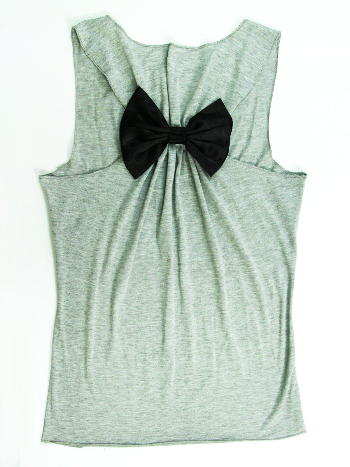 Stylish Scoop Neck Sleeveless Letter Print Bowknot Women's Tank Top - GRAY XL