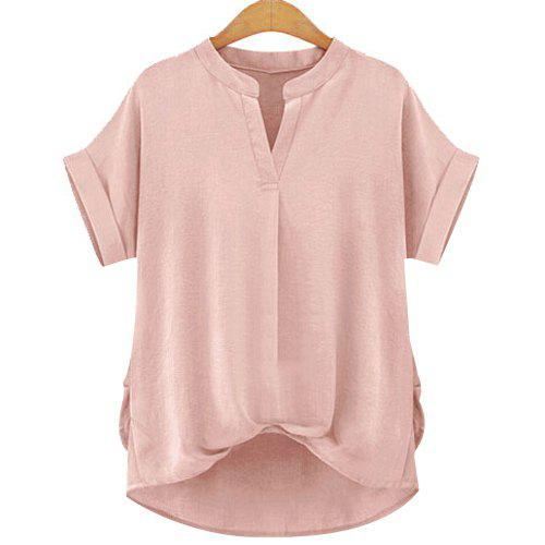 Stylish Women's V-Neck Short Sleeve Linen Blouse - PINK M