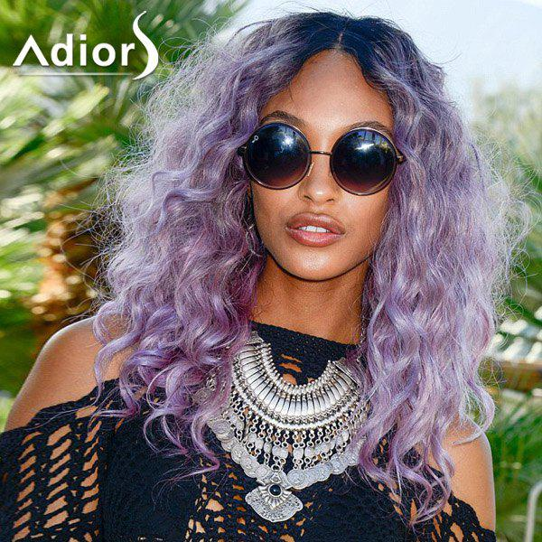Fashion Blue Ombre Purple Centre Parting Fluffy Long Curly Synthetic Adiors Wig For Women - COLORMIX