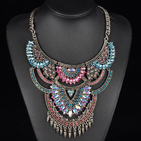 Faux Crystals Rhinestones Oval Fringed Necklace - COLORMIX