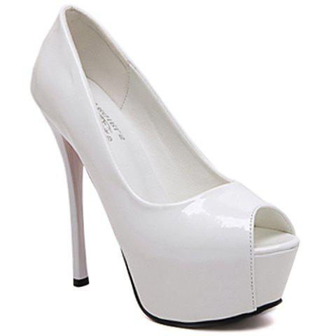 Fashionable Patent Leather and Platform Design Women's Peep Toe Shoes - WHITE 37