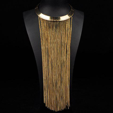 Alloy Chain Fringed Necklace - GOLDEN