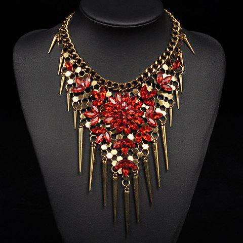 Artificial Crystals Leaf Flowers Cone Necklace - RED