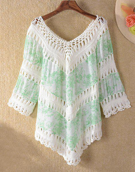 Trendy 3/4 Sleeve V-Neck Hollow Out Asymmetrical Women's Cover-Up - LIGHT GREEN ONE SIZE(FIT SIZE XS TO M)