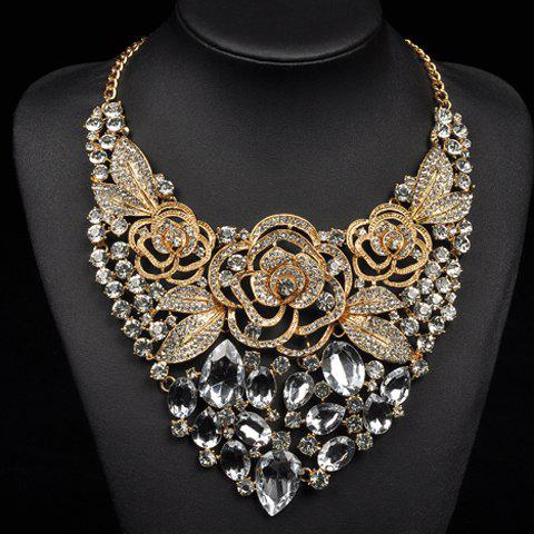 Faux Crystal Flowers Leaf Necklace - GOLDEN