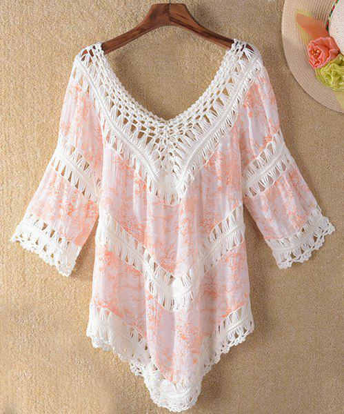 Trendy 3/4 Sleeve V-Neck Hollow Out Asymmetrical Women's Cover-Up - ORANGEPINK ONE SIZE(FIT SIZE XS TO M)