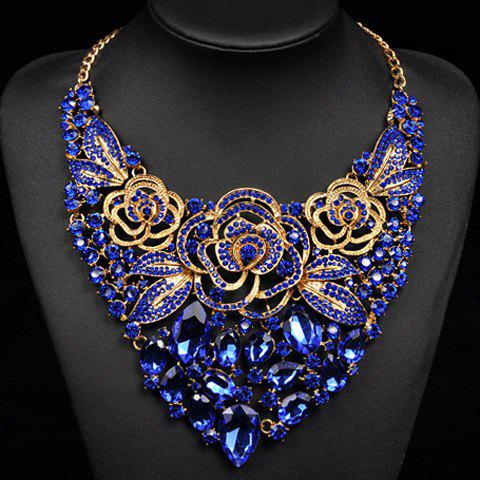 Trendy Artificial Crystals Rhinestones Flowers Water Drop Necklace For Women - BLUE
