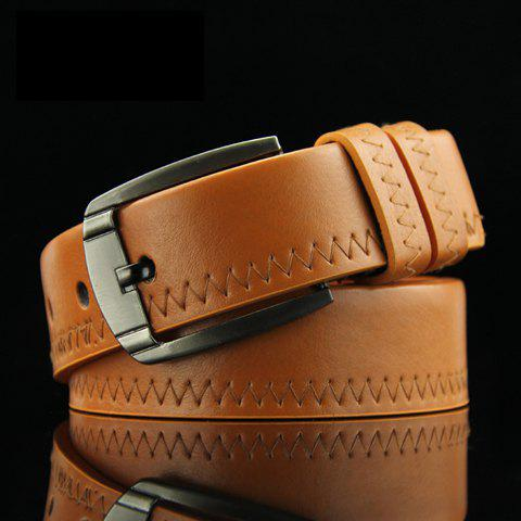 Stylish Sewing Thread Embellished Solid Color Pin Buckle Men's PU Belt - LIGHT BROWN
