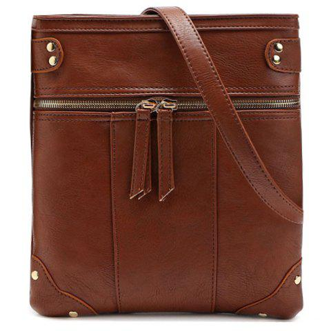Concise Zip and Solid Color Design Women's Crossbody Bag - DEEP BROWN