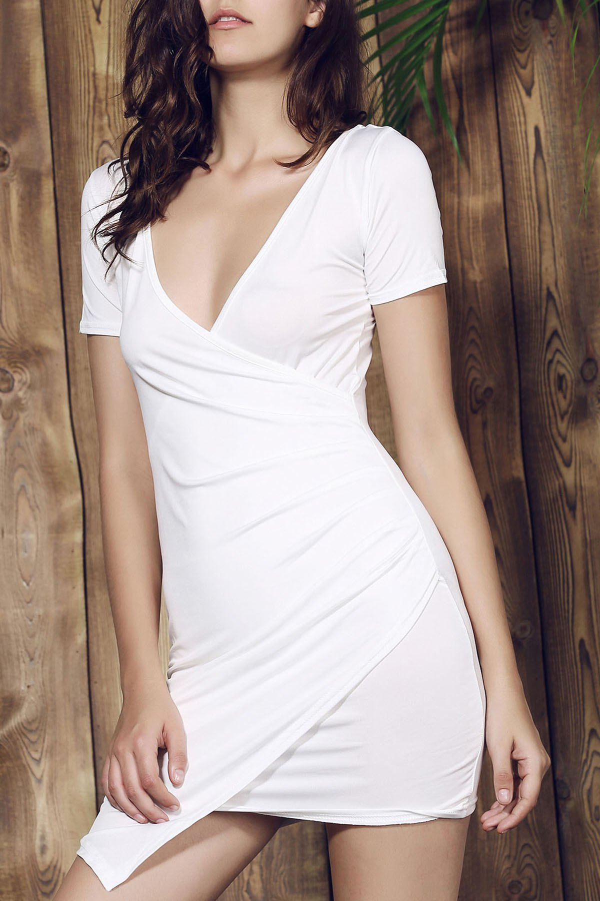 Plunging Collar Short Sleeve Solid Color Bodycon Dress - WHITE S