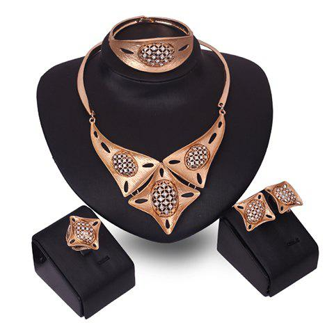Rhinestone Geometric Necklace Bracelet Ring and Earrings - GOLDEN ONE-SIZE