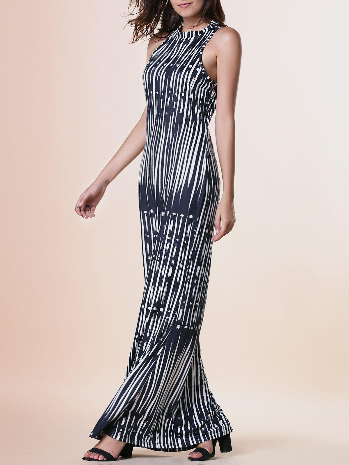 Sleeveless Printed Skinny Maxi Dress - BLACK S