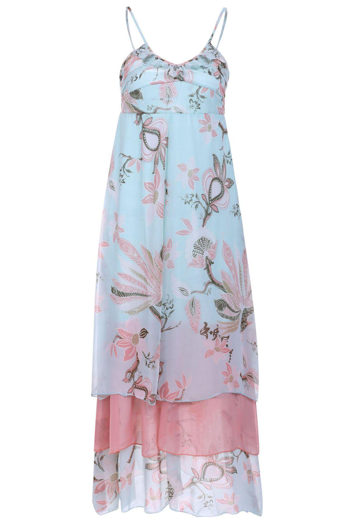 Spaghetti Strap Lotus Printing High Waist Chiffon Dress For Women - AS THE PICTURE S