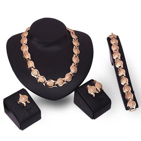 A Suit of Graceful Solid Color Necklace Bracelet Ring and Earrings For Women graceful solid color bracelet for women