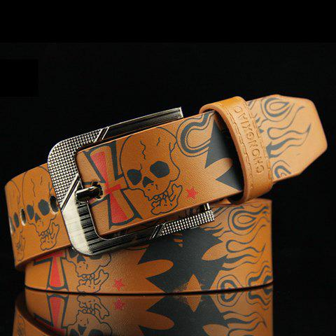 Stylish Hip-Hop Skull and Letter Pattern Pin Buckle Men's PU Belt - BROWN