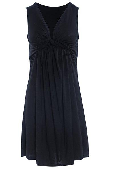 Chic Plunging Neck Pleated Solid Color Dress For Women - XL BLACK