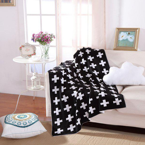Fashionable Cross Pattern Black White Color Knitted Baby Blanket