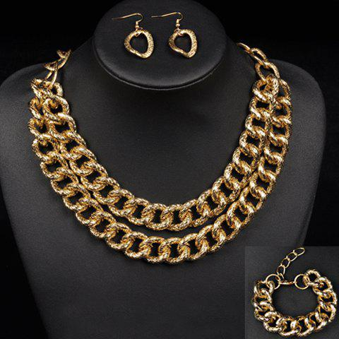 A Suit of Trendy Multilayer Chain Necklace Bracelet and Earrings For Women - GOLDEN