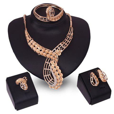 A Suit of Stunning Hollow Out Necklace Bracelet Ring and Earrings For Women