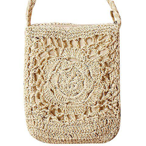 Casual Weaving and Solid Color Design Women's Crossbody Bag - OFF WHITE