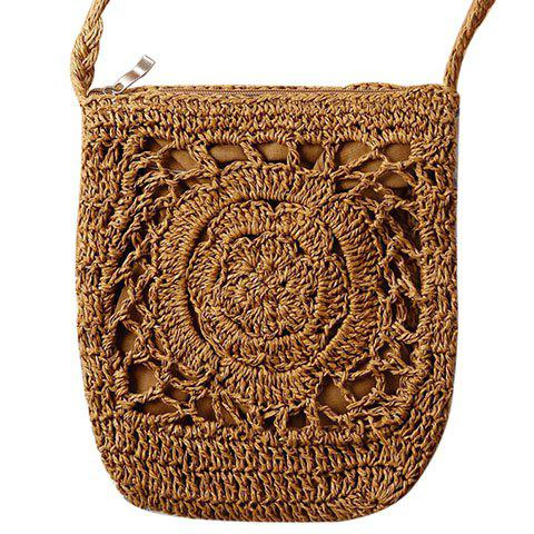Casual Weaving and Solid Color Design Women's Crossbody Bag