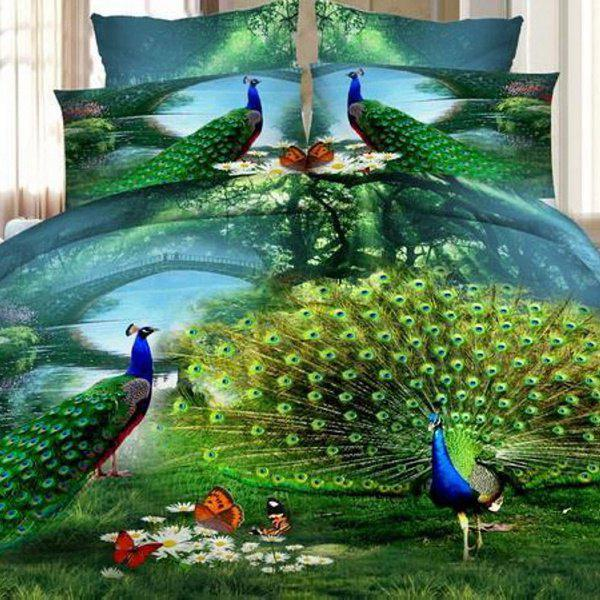 Stylish 3D Peacocks Oil Painting Pattern Duvet Cover 4 PCS Bedding(Without Comforter ) - COLORMIX FULL