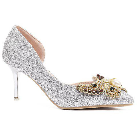 Ladylike Faux Pearls and Butterfly Pattern Design Women's Pumps - SILVER 39