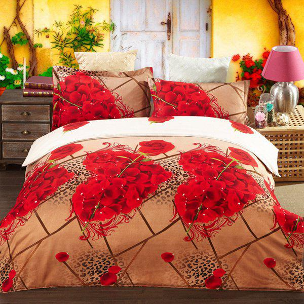 Stylish 3D Heart Roses Oil Painting Pattern Duvet Cover 4 PCS Bedding(Without Comforter ) - COLORMIX FULL