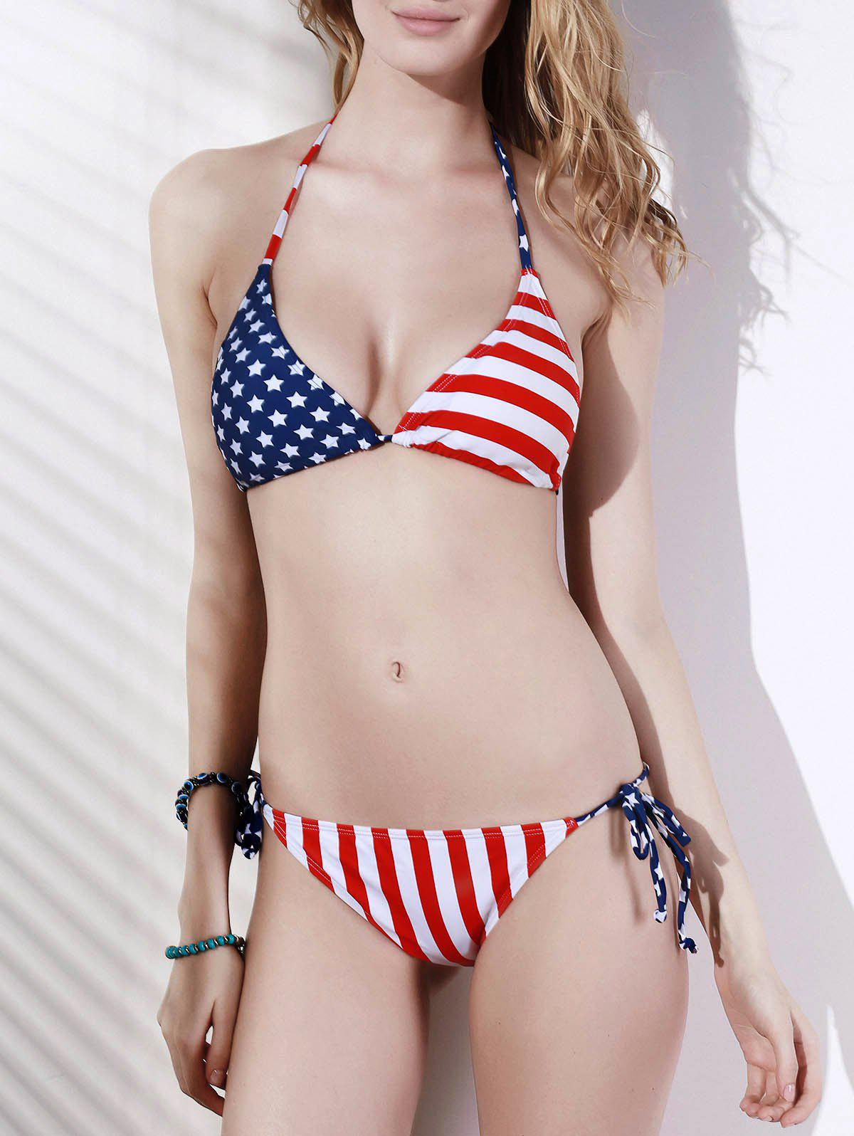 Trendy Flag Pattern Halter Hit Color Bikini Swimwear For Women - COLORMIX L