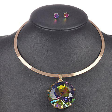 A Suit of Faux Crystal Necklace and Earrings - COLORMIX