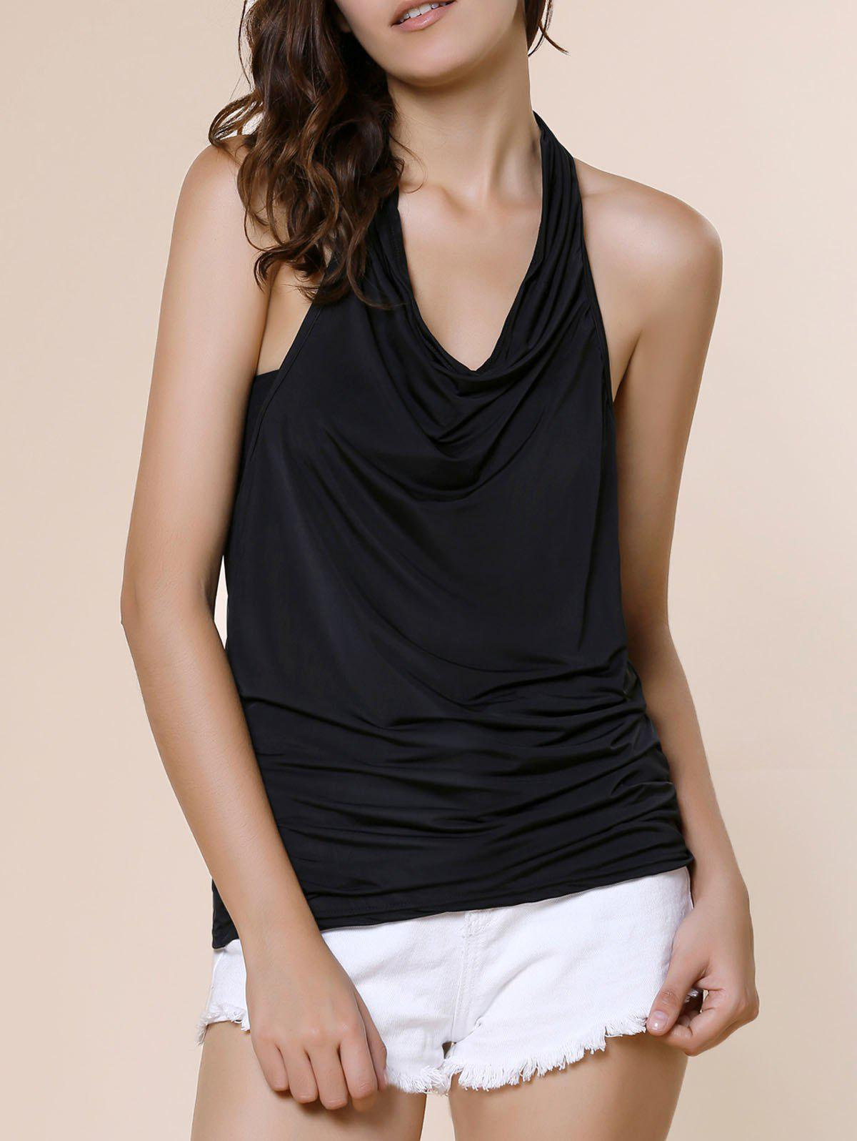 Stylish Cowl Neck Sleeveless Backless Solid Color Women's T-Shirt - BLACK S