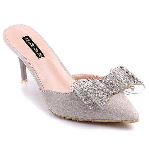 Stylish Flock and Rhinestones Design Women's Slippers - GRAY 39