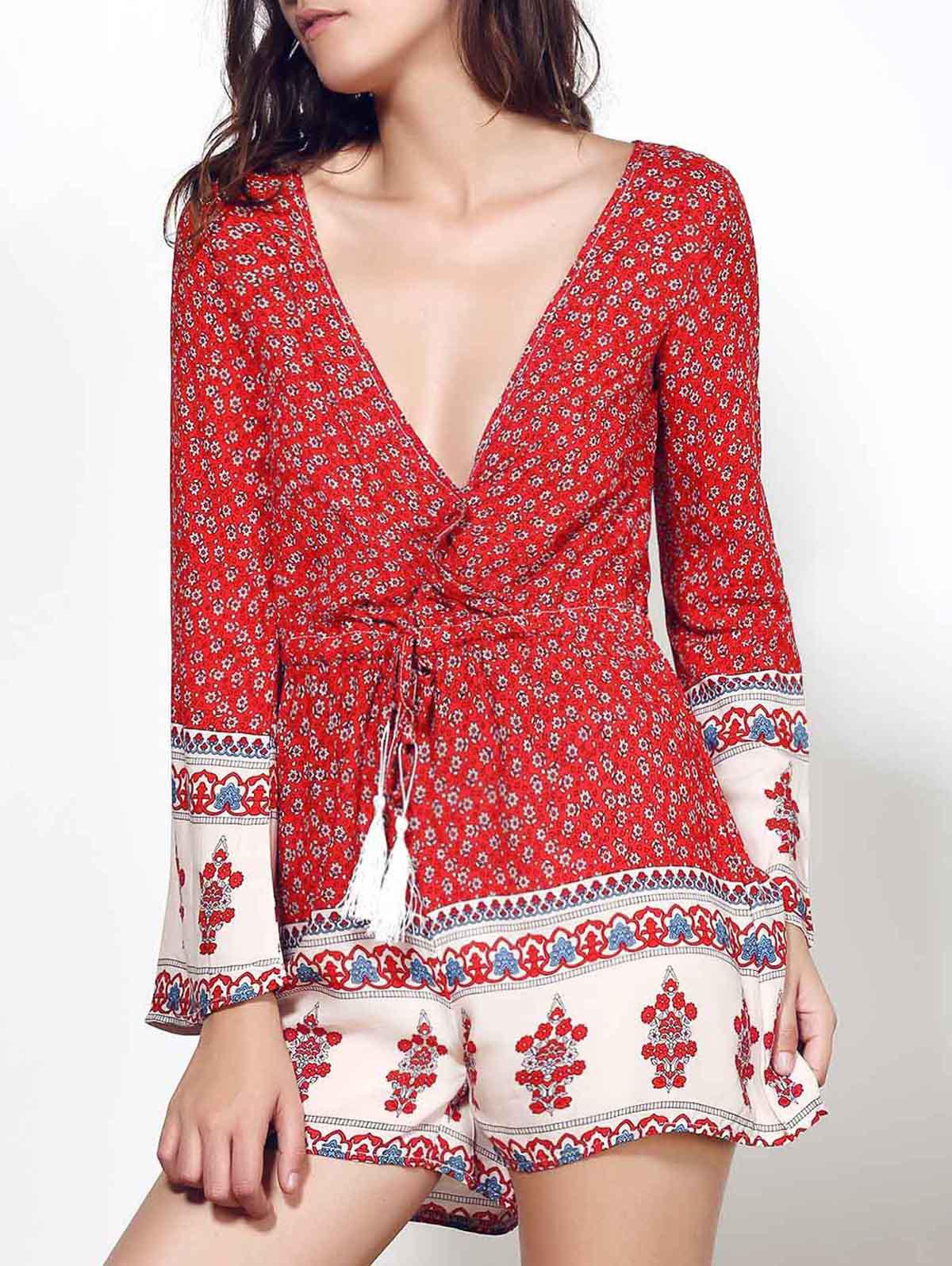 Ethnic Plunging Neck Long Sleeve Drawstring Printed Women's Romper - RED S