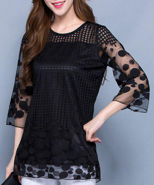 Trendy Round Collar 3/4 Length Sleeves See-Through Hollow Out Women's Blouse - BLACK M