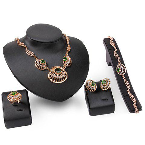 A Suit of Faux Gem Necklace Bracelet Ring and Earrings - GOLDEN ONE-SIZE