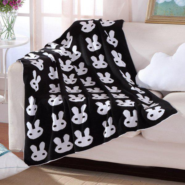 Hot Sale Rabbit Pattern Black White Color Knitted Baby Blanket