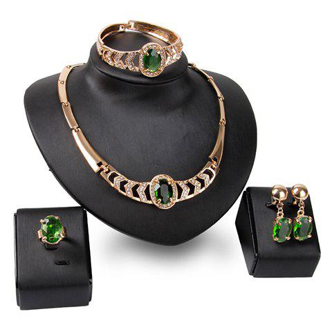 A Suit of Chic Hollow Out Rhinestone Necklace Bracelet Ring and Earrings For Women