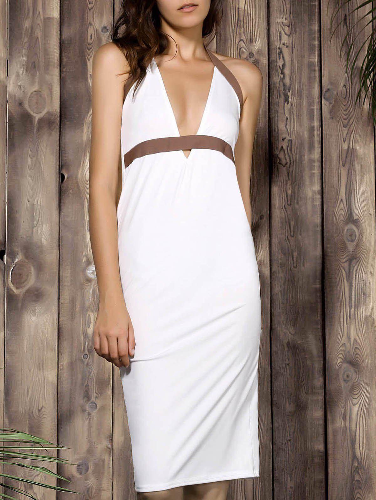 Sexy Plunging Neck Color Block High-Waisted Backless Bodycon Dress For Women