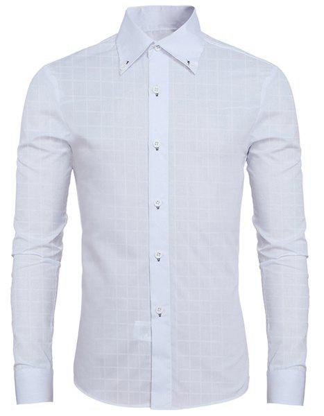 Refreshing Shirt Collar Classic Plaid Long Sleeves Men's Button-Down Shirt - WHITE 2XL