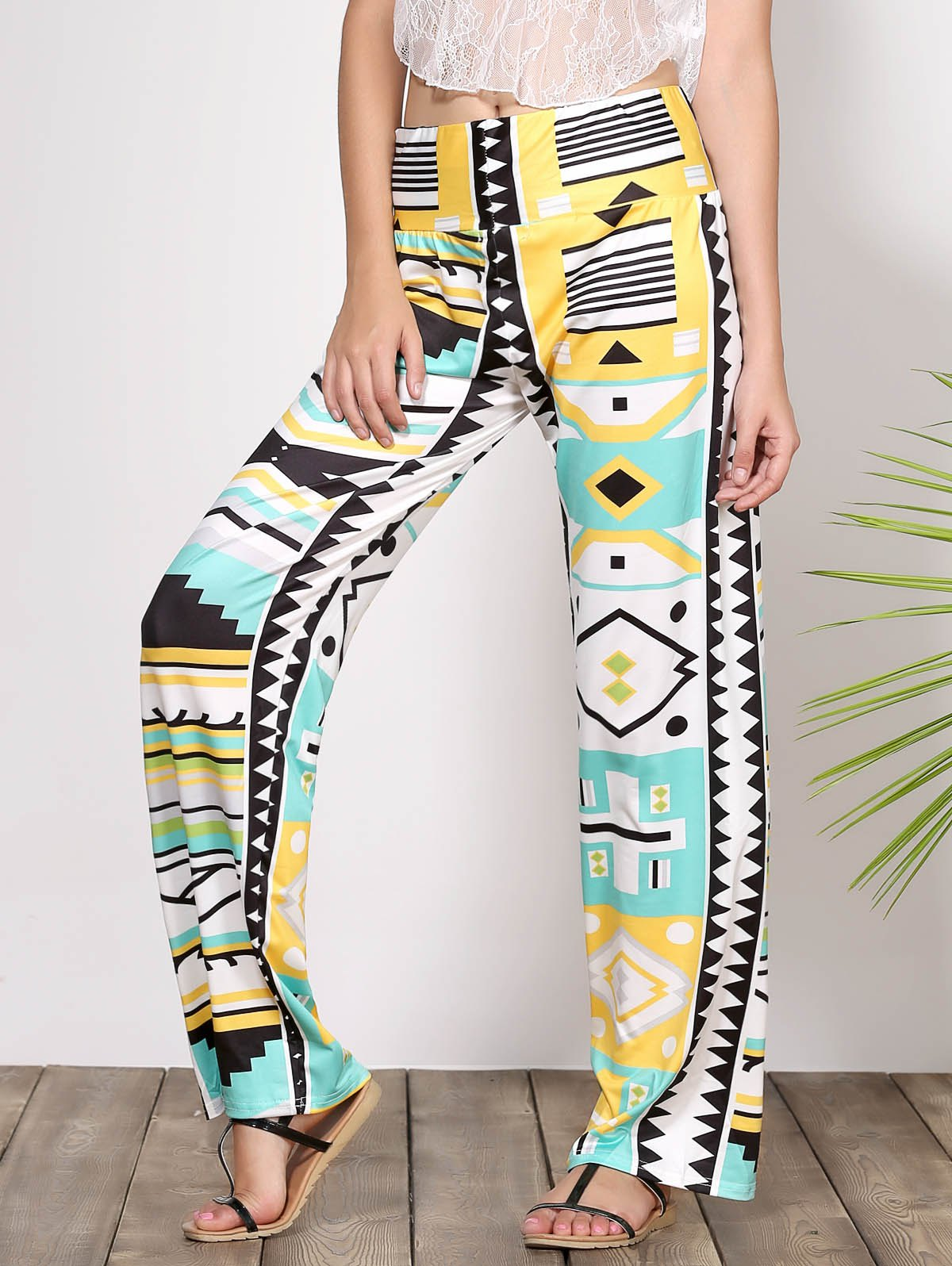 Stylish Mid-Waisted Loose-Fitting Geometric Print Women's Exumas Pants - COLORMIX L
