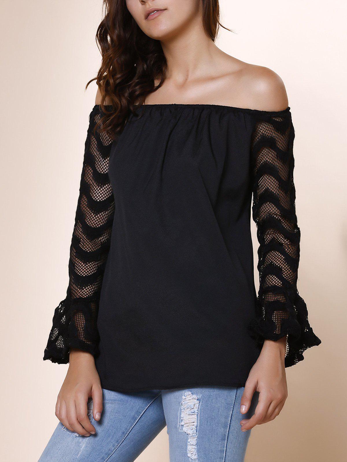 Fashionable Off-The-Shoulder Lace Splicing Sleeve Black T-Shirt For Women - BLACK XL