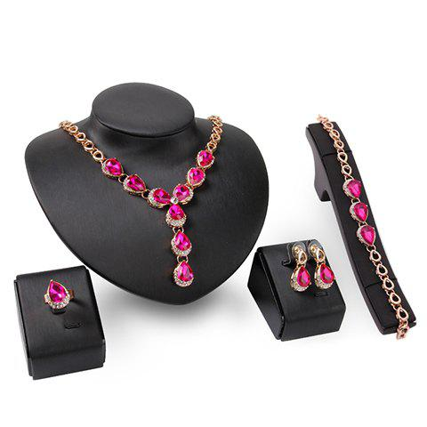 A Suit of Stylish Faux Gem Water Drop Necklace Bracelet Ring and Earrings For Women