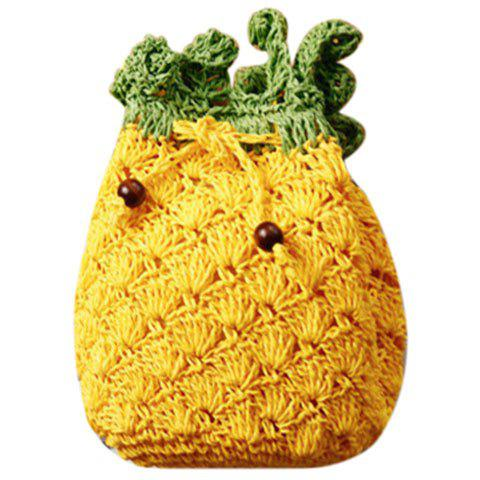 Cute Pineapple Shape and String Design Women's Crossbody Bag - YELLOW