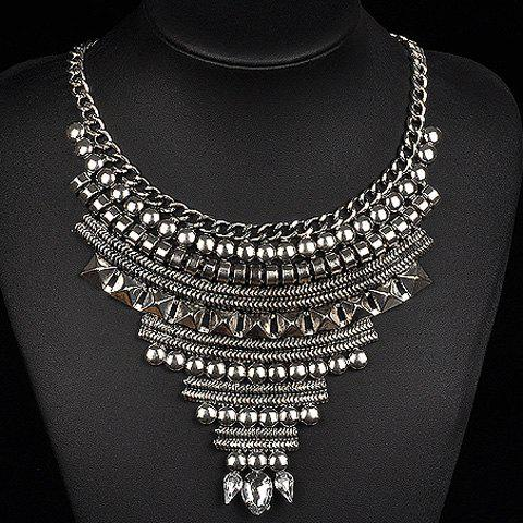 Artificial Crystal Geometric Water Drop Necklace - SILVER