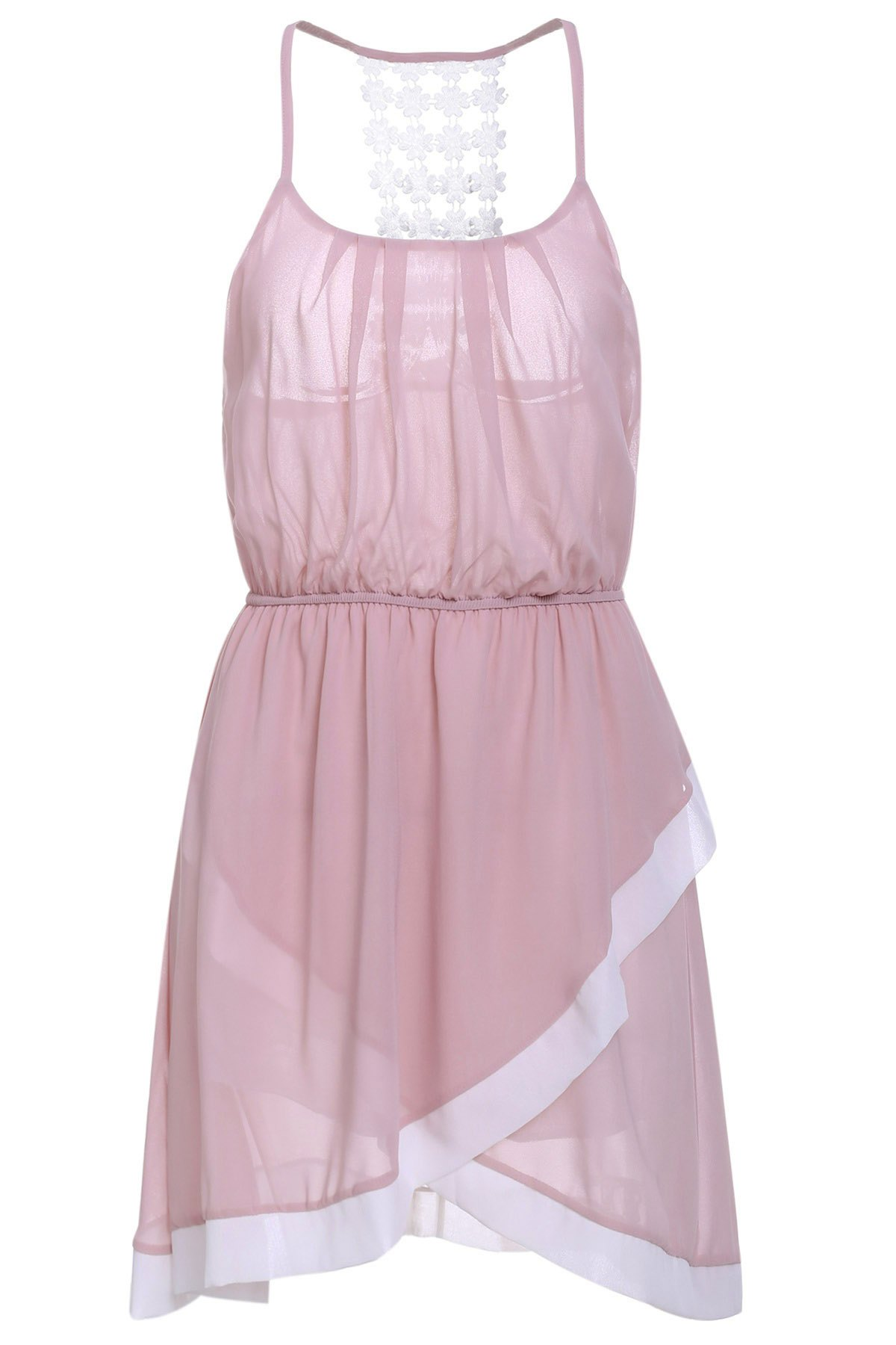 Sweet Spaghetti Strap Asymmetrical Hollow Out Women's Dress - PINK M