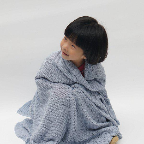 Fashionable Solid Color Cotton Knitted Summer Blanket For kids - BLUE GRAY