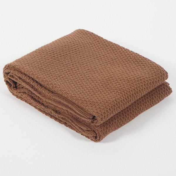 Fashionable Solid Color Cotton Knitted Summer Blanket For kids - COFFEE